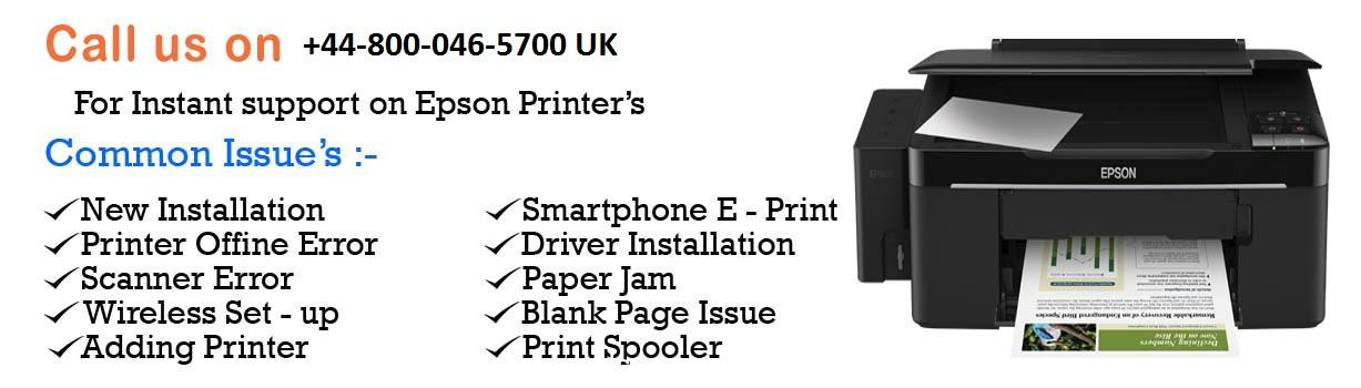 Call given number on image to support and fix epson printer uk.