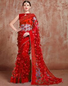 latest designer net saree