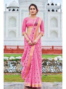 pink color cotton saree