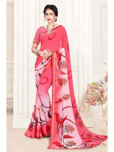 pink color georgette saree