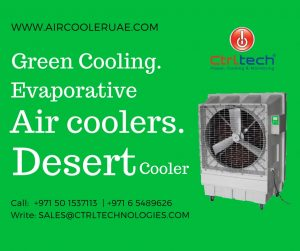 Outdoor Desert cooler with evaporative cooling